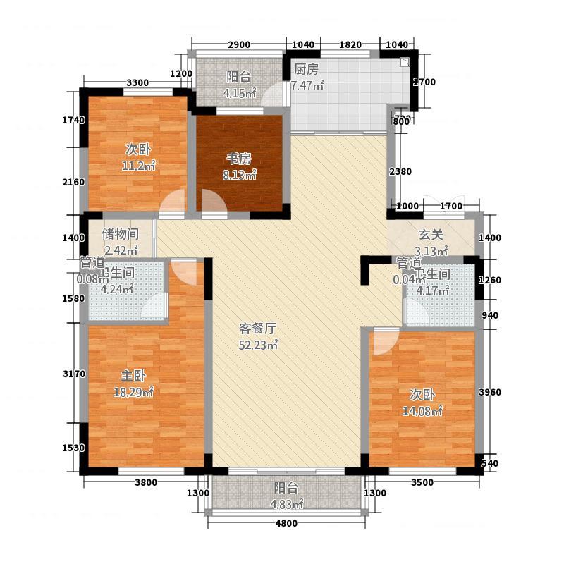 广泽紫晶城168.00㎡白宫府邸户型4室2厅2卫