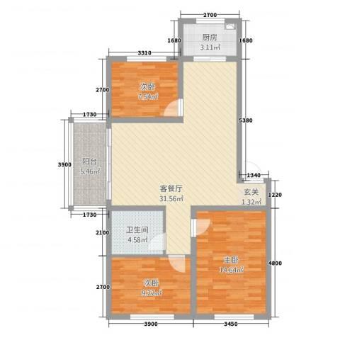 金地江畔花都3室1厅1卫1厨99.00㎡户型图