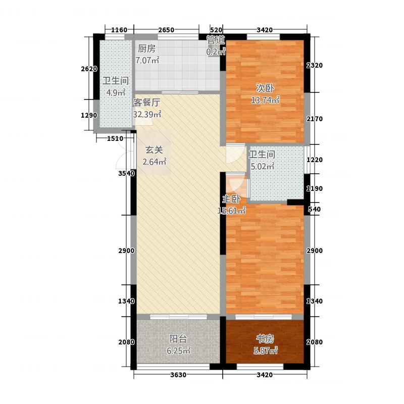 东湖・未来城2212.20㎡E户型2室2厅2卫1厨