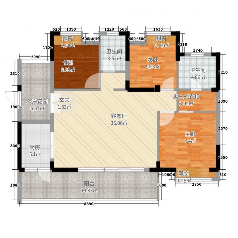 仙桃福星城2123.72㎡C2户型3室2厅2卫1厨