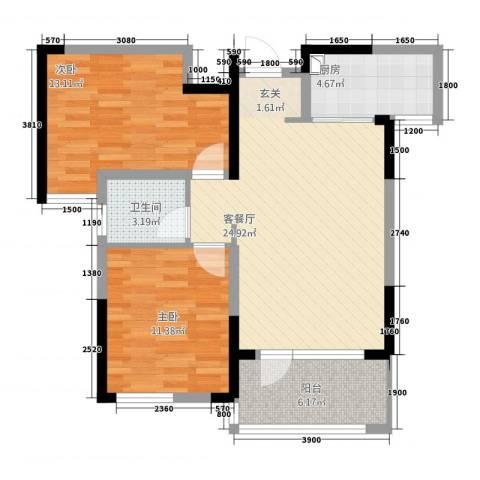 满庭春MOMΛ2室1厅1卫1厨286.00㎡户型图
