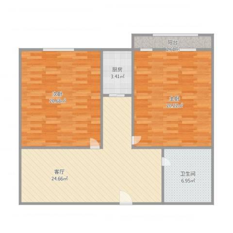 山东省畜牧局宿舍2室1厅1卫1厨105.00㎡户型图