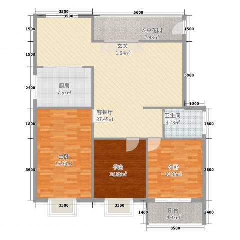 新景第3室1厅1卫1厨109.64㎡户型图