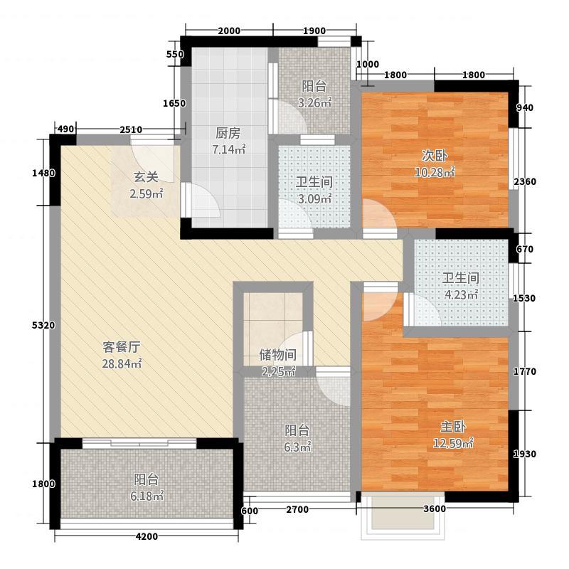 阅江豪庭1111.74㎡B栋1号户型3室2厅2卫1厨