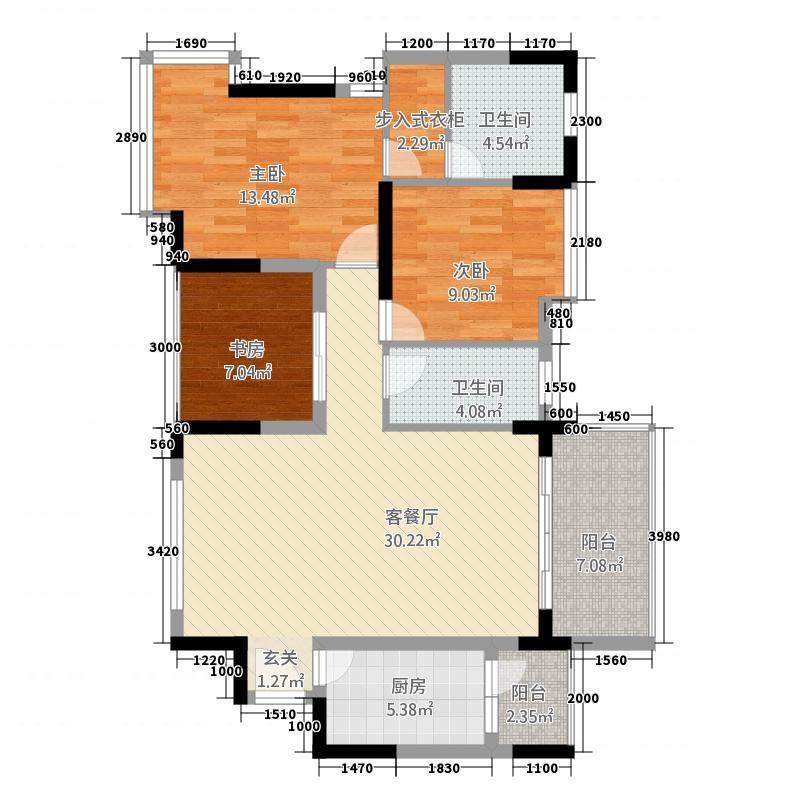 方典东湾2112.61㎡B2+户型3室2厅2卫1厨