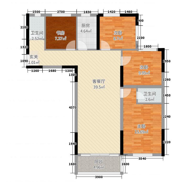 状元西苑24125.61㎡B2户型4室2厅2卫1厨