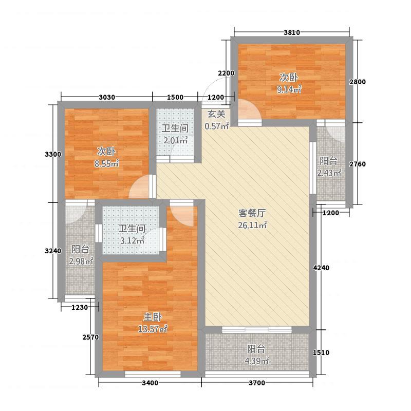 状元西苑3288.62㎡C户型3室2厅2卫1厨