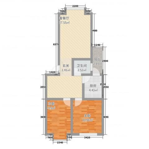 凯瑞雅居2室1厅1卫1厨85.00㎡户型图