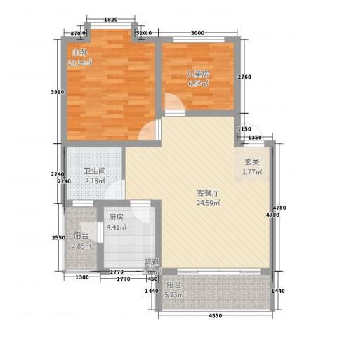 凯瑞雅居2室1厅1卫1厨89.00㎡户型图