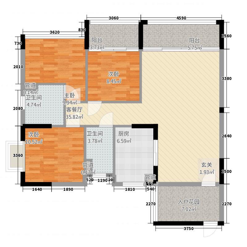 翡翠明珠1111.22㎡一期G1座01单位/G2座02单位户型3室2厅2卫1厨