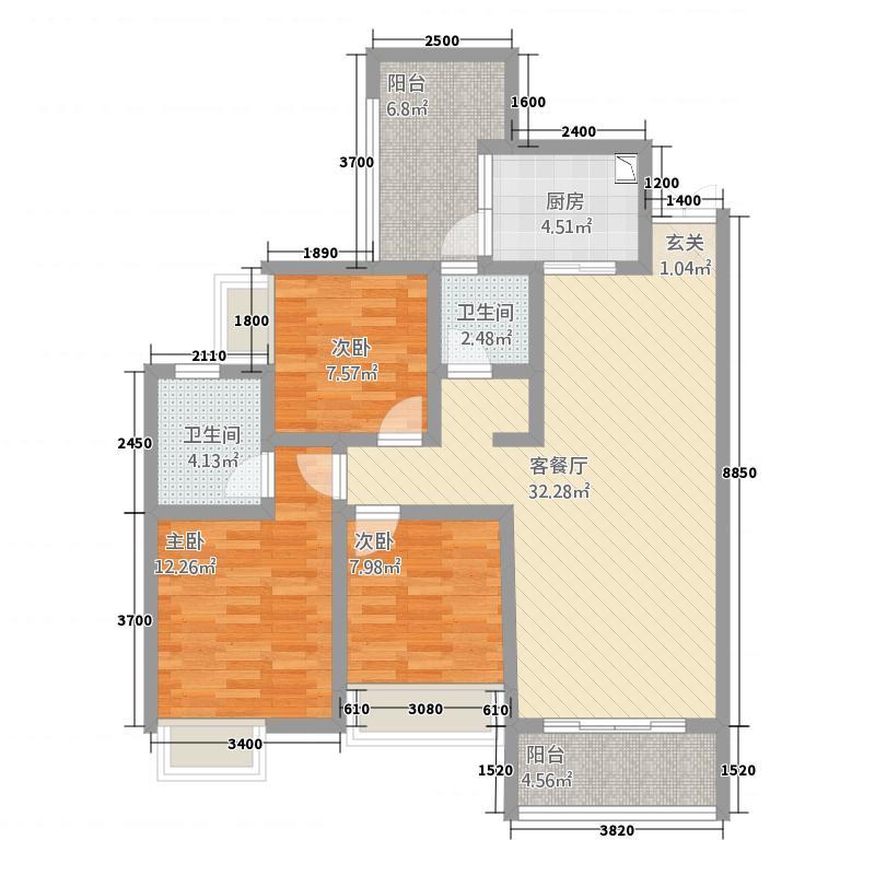 世纪华府1321.20㎡1号楼-户型2室2厅1卫1厨