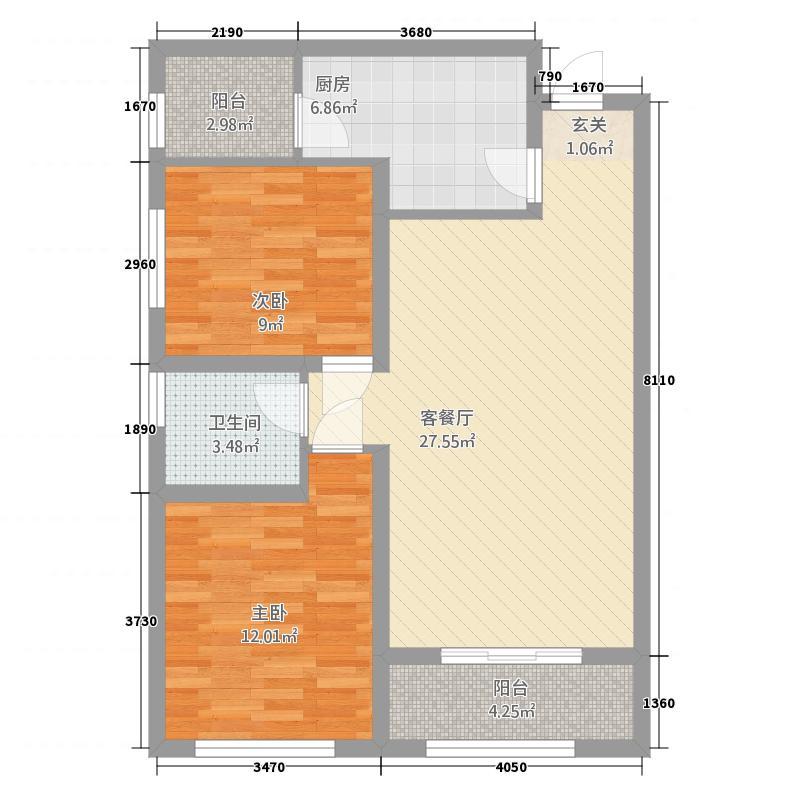 荣府第1城111217.42㎡10#/12#/13#E户型2室2厅1卫1厨
