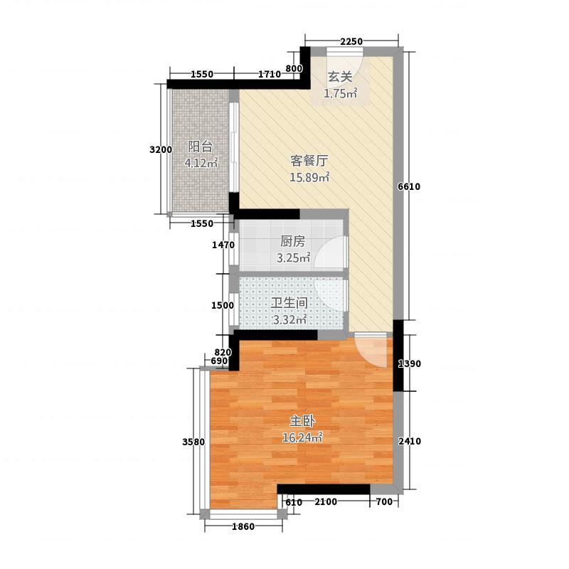 方典东湾1152.20㎡E户型1室1厅1卫1厨