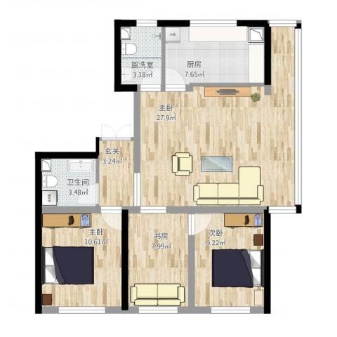 如一坊中央公园4室1厅1卫1厨106.00㎡户型图