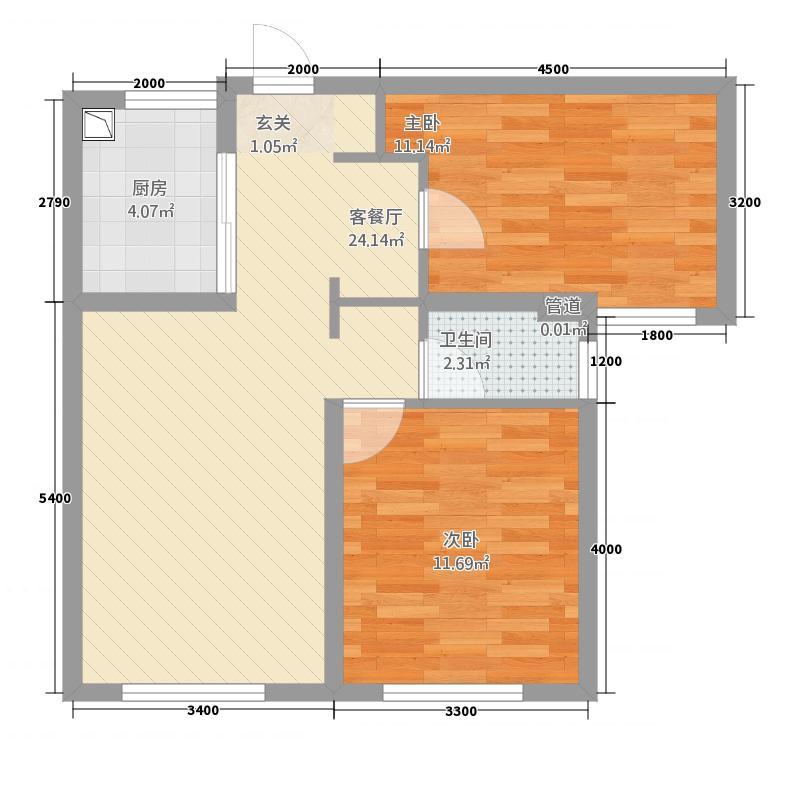万科金域华府二期186.20㎡1、3、4#B2户型2室2厅1卫1厨