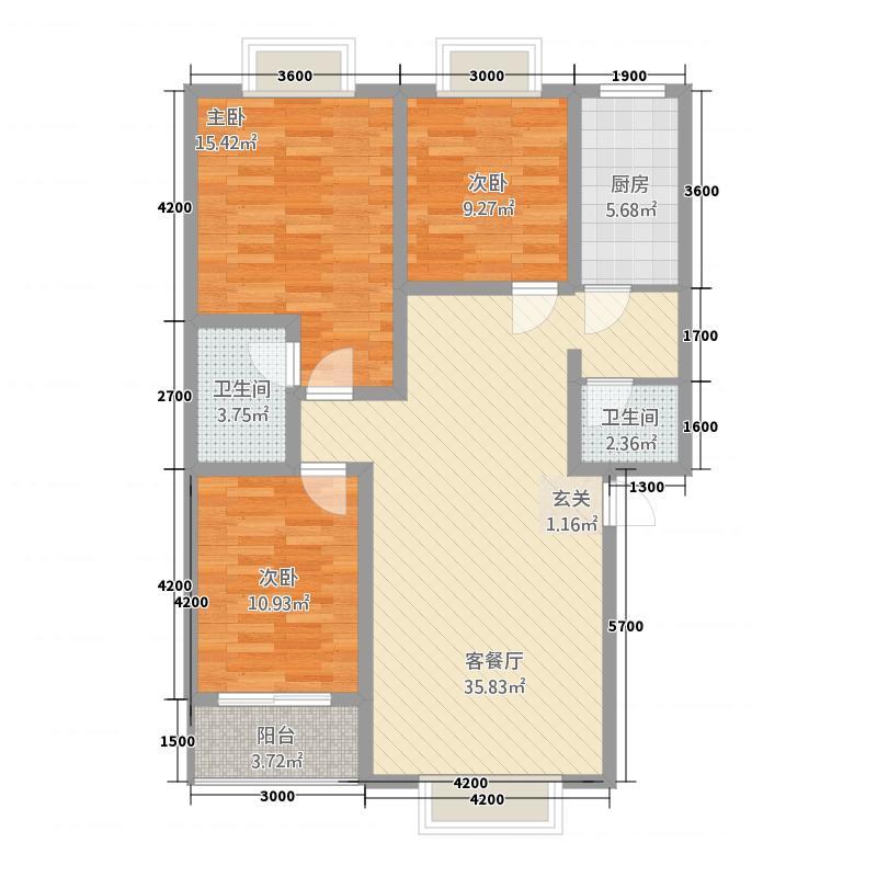 丽境人家112.21㎡B户型3室2厅2卫1厨