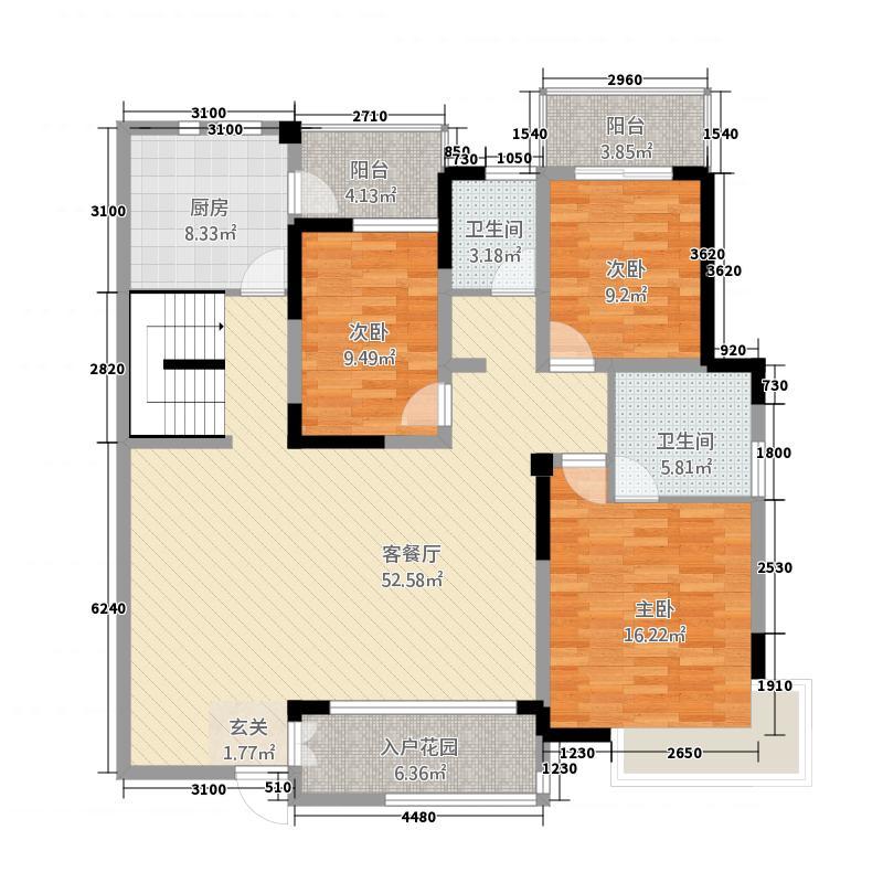 澜山・悦11148.72㎡E1-1户型4室2厅2卫1厨