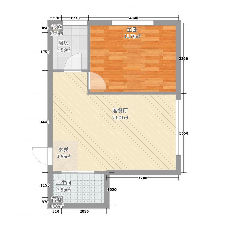 向阳茗筑54.62㎡户型1室1厅1卫1厨