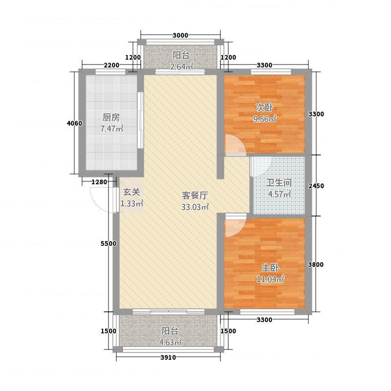 雪域金沙2288.88㎡F户型2室2厅1卫1厨