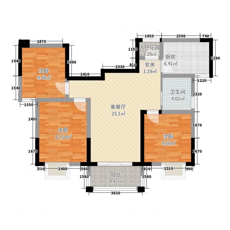 世贸广场31.20㎡户型3室2厅1卫1厨