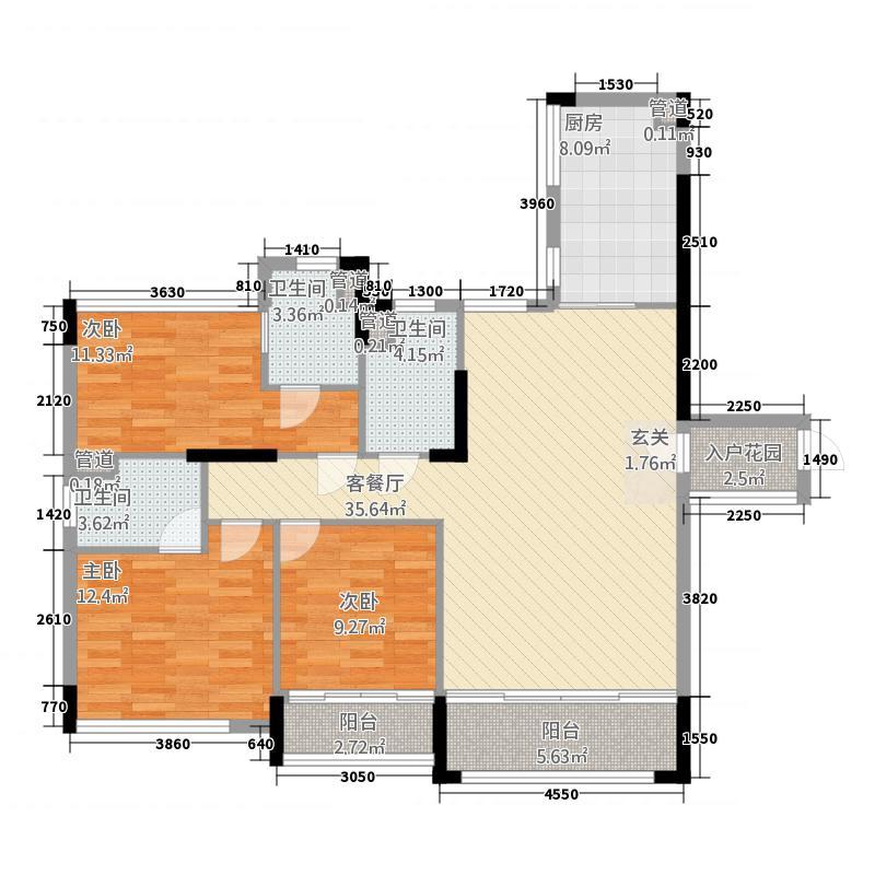 翡翠明珠13125.46㎡一期G1座03单位/G2座04单位户型3室2厅3卫1厨