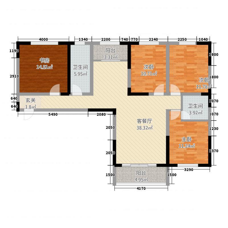 泰宇城市花园户型3室2厅1卫1厨