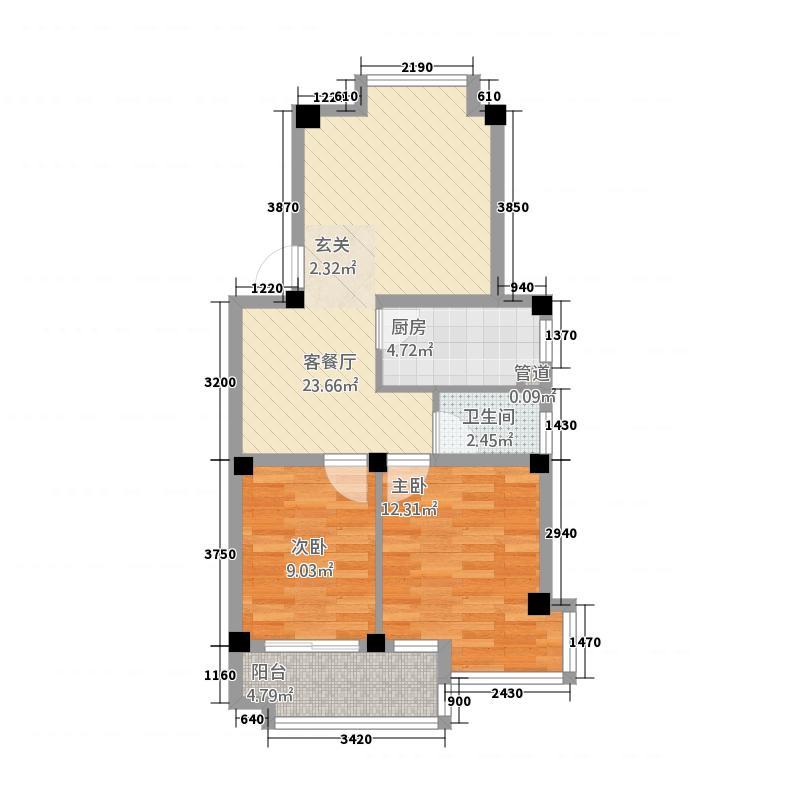 香江碧水城82.00㎡户型3室2厅1卫1厨