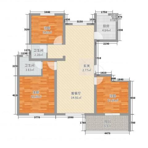 江南一品3室1厅2卫1厨432128.00㎡户型图