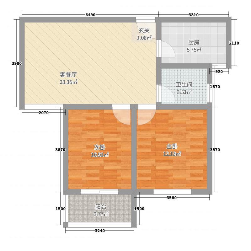 润基・花悦城85.68㎡(3)户型2室2厅1卫1厨