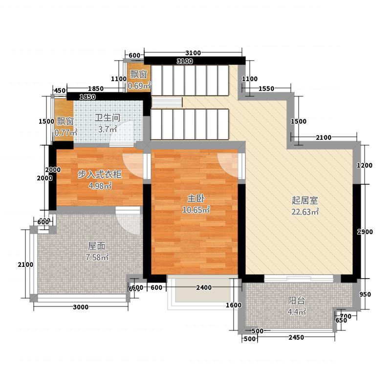 中大君悦金沙9期君雅院163.32㎡3栋跃层A72层户型1室1厅1卫