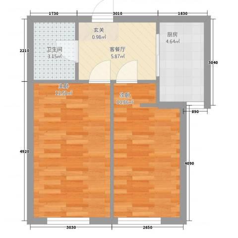 万晟御水湾2室1厅1卫1厨458.00㎡户型图