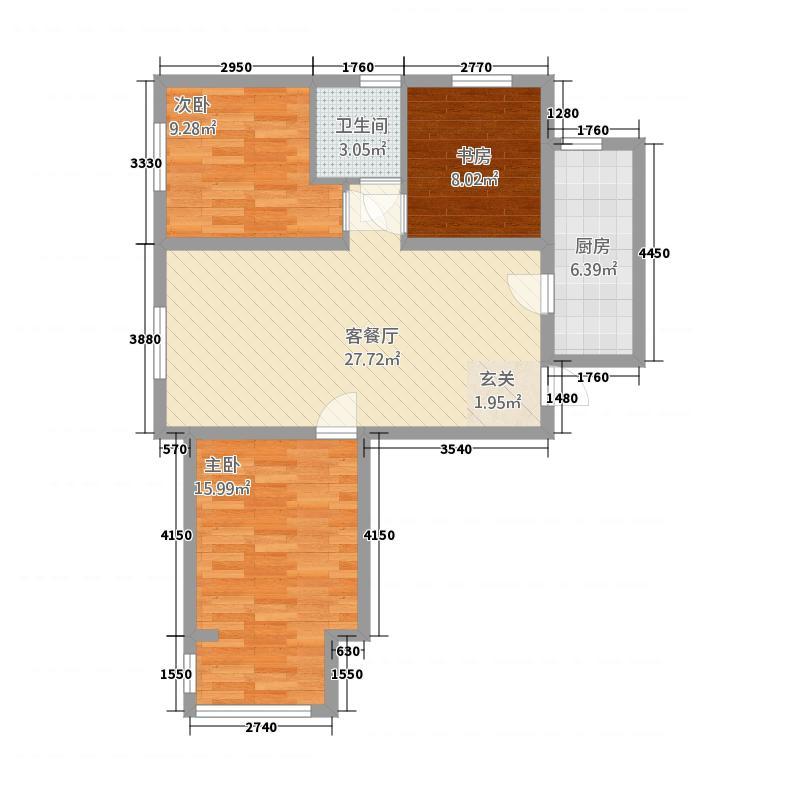 万晟御水湾214.20㎡A2#楼C户型3室2厅1卫1厨