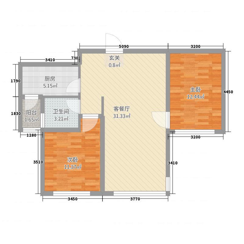 群邦银座新天地53.20㎡D5图库・户型2室2厅1卫1厨