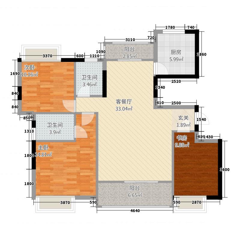 进贤壹号公馆126.20㎡户型3室2厅2卫1厨