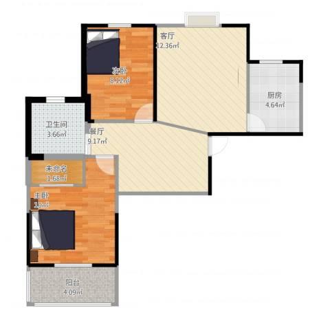 铁静苑2室2厅1卫1厨88.00㎡户型图