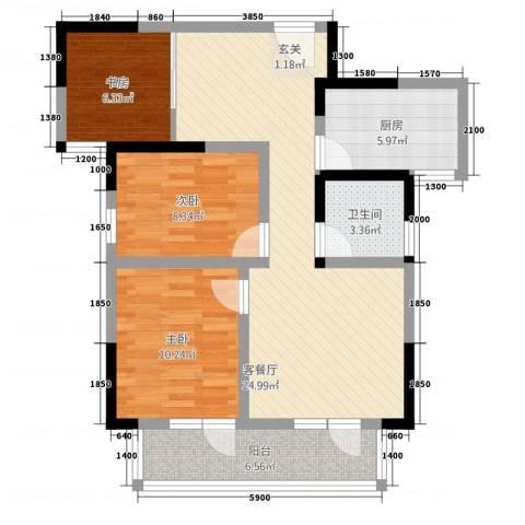 满庭春MOMΛ3室1厅1卫1厨65.79㎡户型图