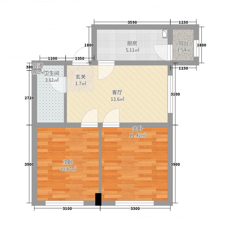 铂金湾226.52㎡2单元E2室户型2室1厅1卫1厨