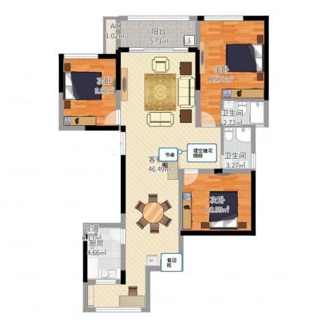 杰仕豪庭3室1厅4卫1厨144.00㎡户型图