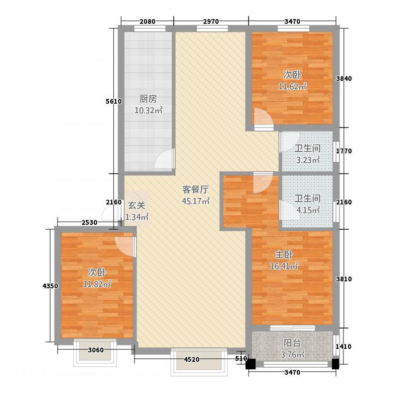 花都文苑148.61㎡高层14#楼标准层101户型3室1厅2卫