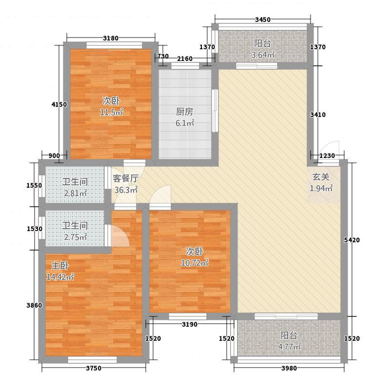 姜水龙湾二期32136.86㎡A户型3室2厅2卫1厨