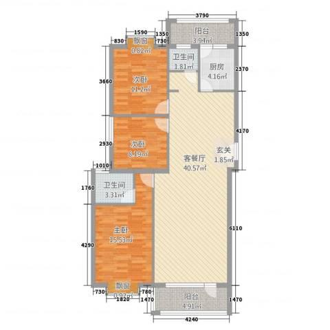 金泽洮水明珠3室1厅2卫1厨131.00㎡户型图