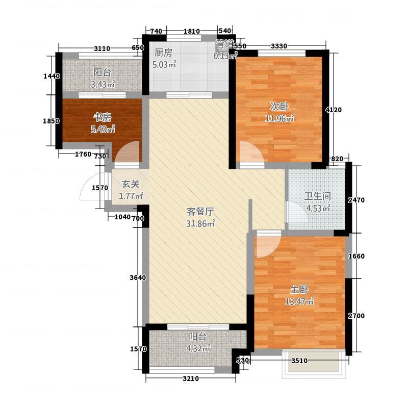 蚌埠新地城市广场116.20㎡B1户型3室2厅1卫1厨