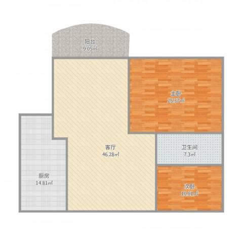 阳光花地2室1厅1卫1厨138.00㎡户型图