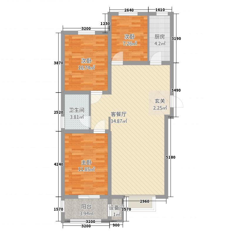 惠友・万悦城111.20㎡D-1户型3室2厅1卫1厨