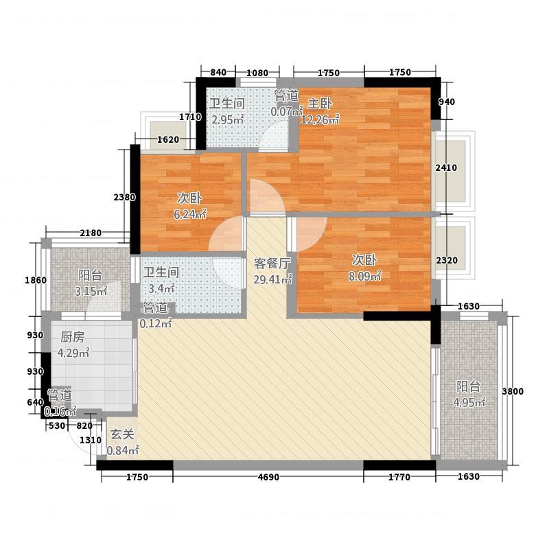 美的简岸花园85.10㎡晴轩5栋四-十八层05单元户型