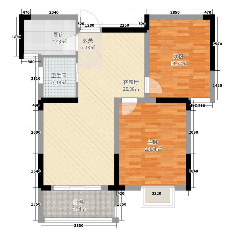 世贸广场26.20㎡户型2室2厅1卫1厨
