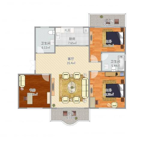 松柏华庭3室1厅2卫1厨146.00㎡户型图