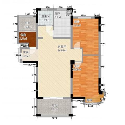 新安・达观天下3室1厅1卫1厨86.24㎡户型图