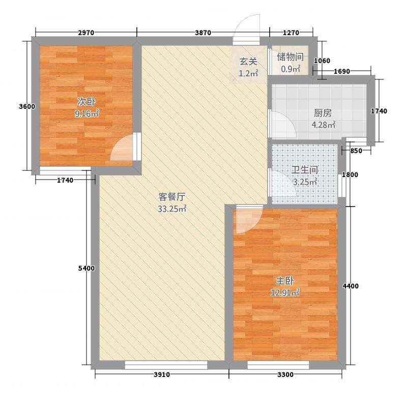 美仑环球港24.52㎡G2户型2室2厅1卫1厨