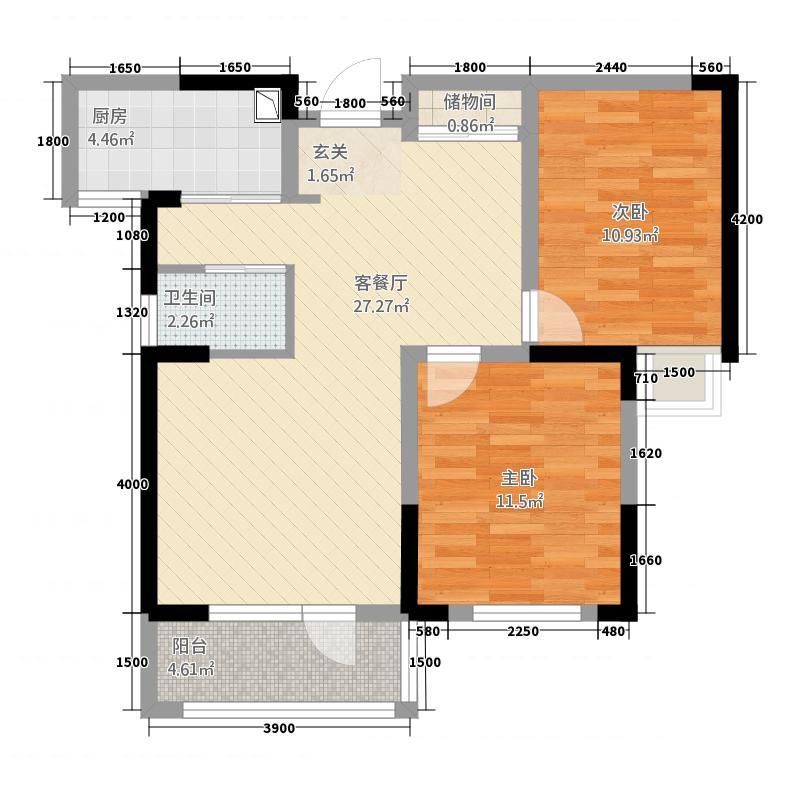 满庭春MOMΛ17186.20㎡17#楼D1户型2室2厅1卫1厨